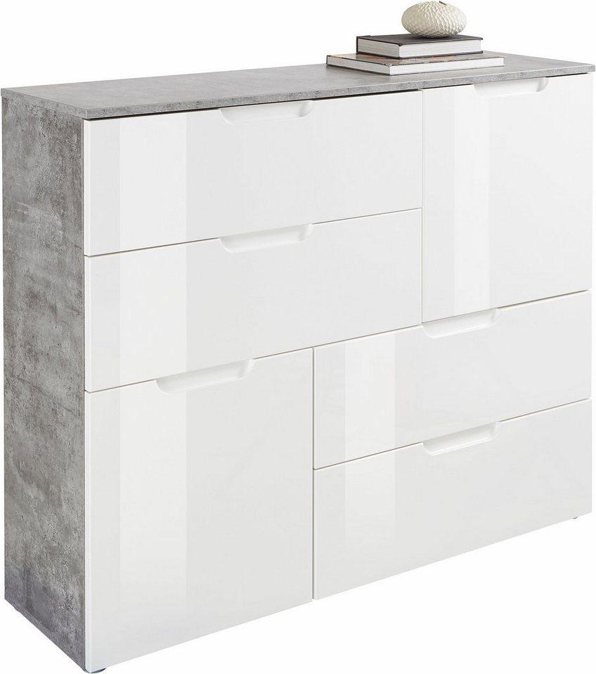 FORTE  Kommode Breite 115 cm mit 2 Türen und 4 Schubkästen weiß | 05904767857134