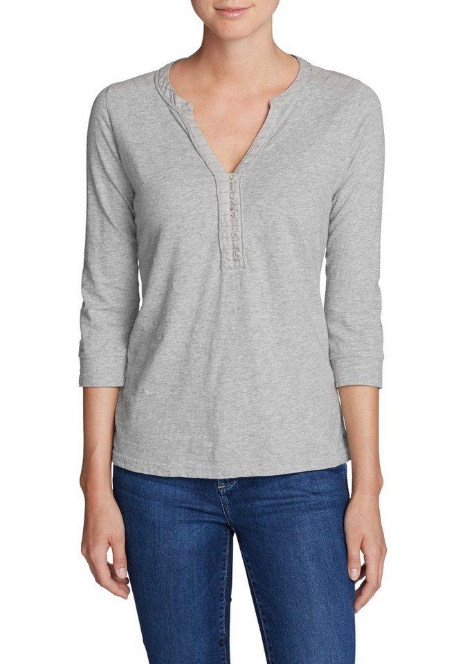 Damen Eddie Bauer 3 4-Arm-Shirt Besticktes Henley mit 3 4-Arm grau | 04057682154909