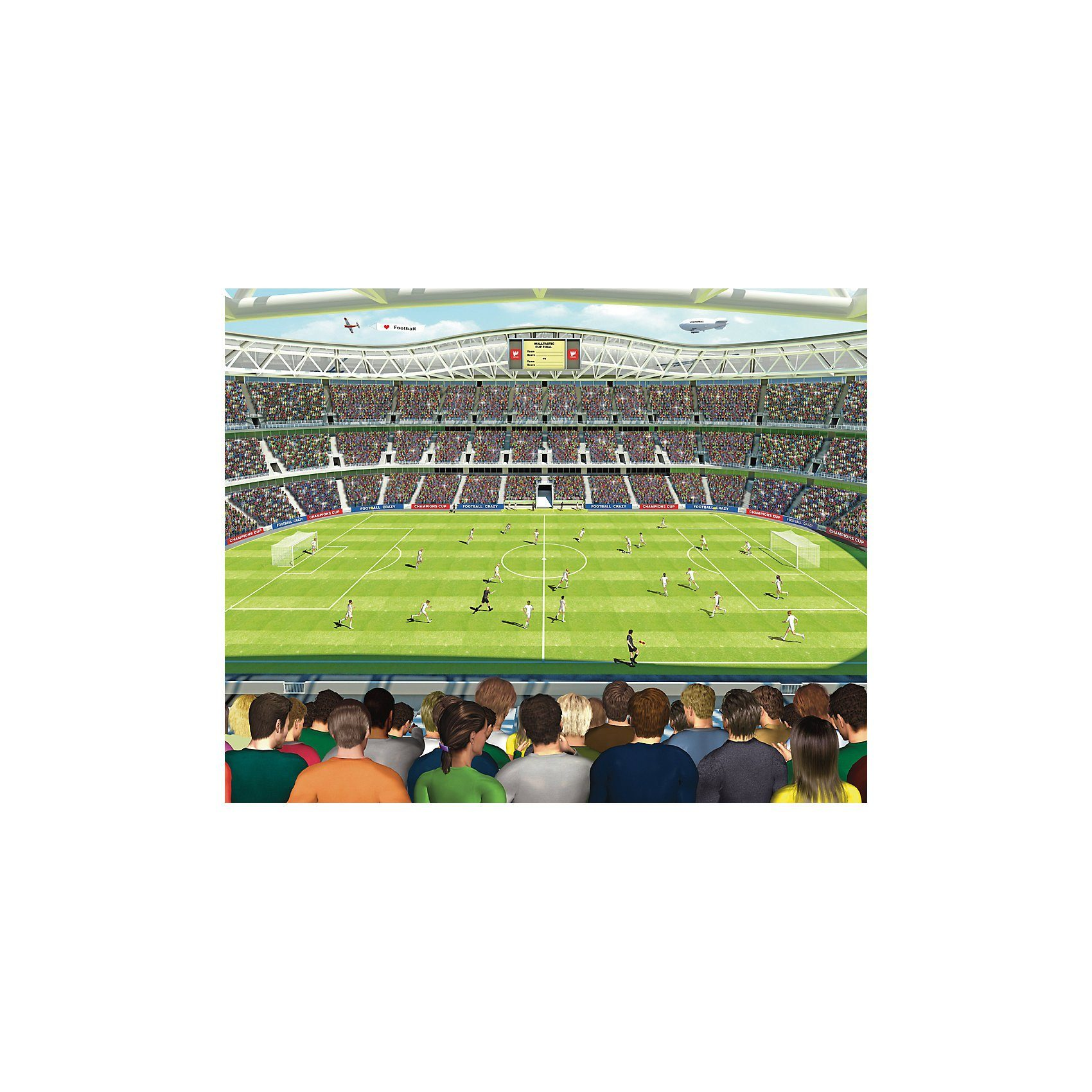 Walltastic Tapete Fußballspiel im Stadion, 12-tlg.