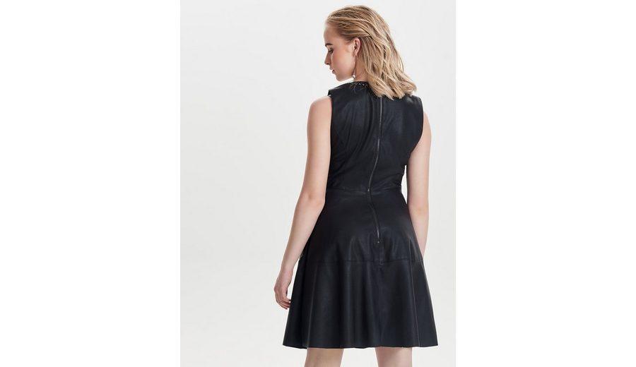 Only Kunstleder Kleid ohne Ärmel Outlet Mode-Stil Y3AcXR