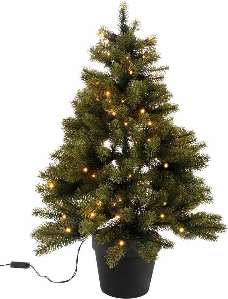 Geschmückter Künstlicher Weihnachtsbaum Mit Lichterkette.Künstlicher Weihnachtsbaum Mit Schwarzem Kunststoff Topf Und Led Lichterkette Batteriebetrieben Online Kaufen Otto