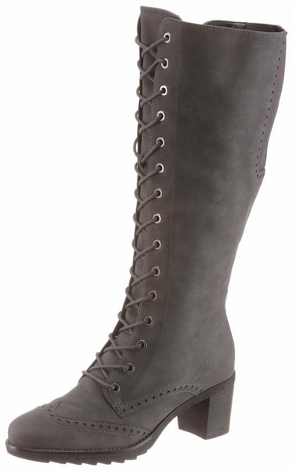 Jenny Schnürstiefel mit variablen XL-Schaft   Schuhe > Stiefel > Schnürstiefel   Grau   Jenny