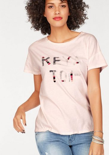 Garcia T-Shirt, mit glitzernder Stickerei auf Print