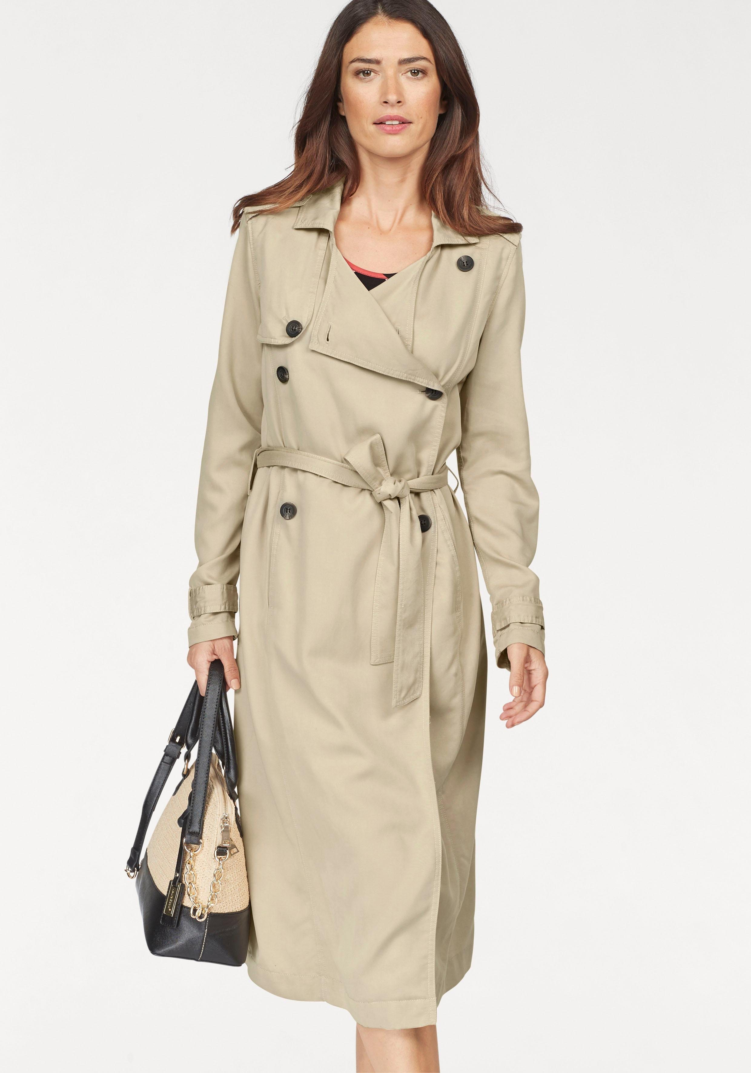 Laura Scott Trenchcoat in weich fallender Longform | Bekleidung > Mäntel > Trenchcoats | Laura Scott