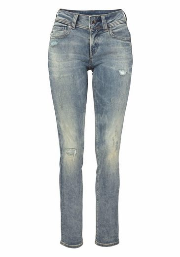 G-Star RAW Straight-Jeans Midge Saddle, im Used-Look