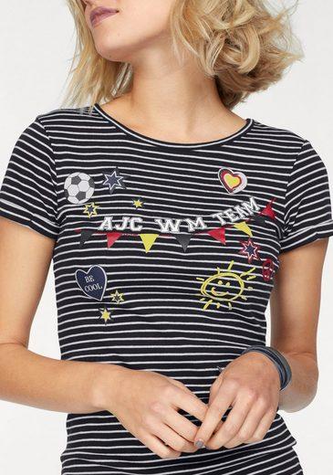 AJC T-Shirt, mit Streifen und Fussball WM Druck