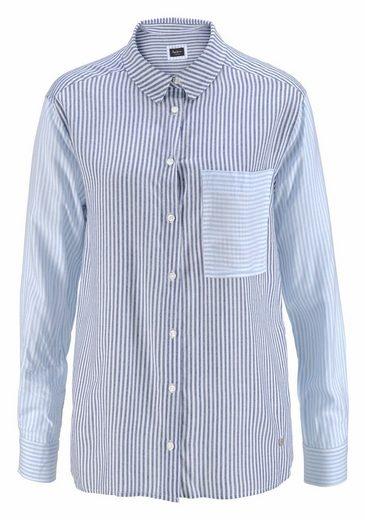 Pepe Jeans Hemdbluse MILA, mit gepatchem Streifendesign