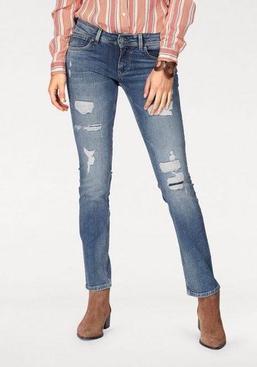 Pepe Jeans Straight-jeans Saturn, Mit Destroyed-effekten