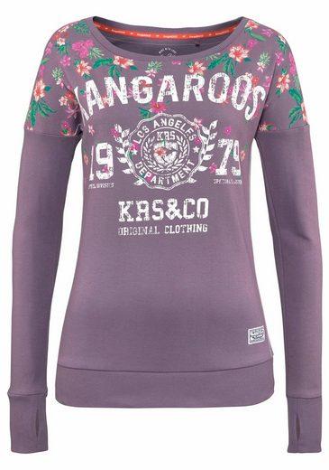 Kangaroos Langarmshirt, With Floral Print