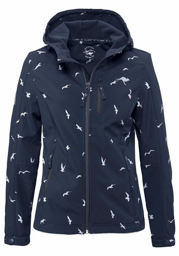 Kangaroos Softshell Jacket With Allover-bird-print, Breathable And 3000mm Water Column