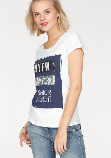 AJC T-Shirt, mit Frontdruck und Pailletten