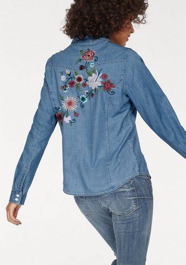 Kaporal Jeansbluse BREAK, mit Blumen-Stickerei
