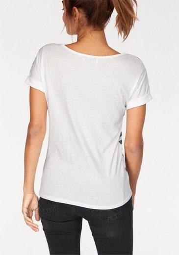 AJC T-Shirt, mit Streifen und coolem Druck vorne