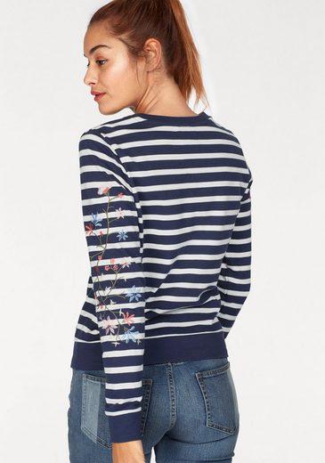 AJC Sweatshirt, mit Blumenstickerei am Ärmel