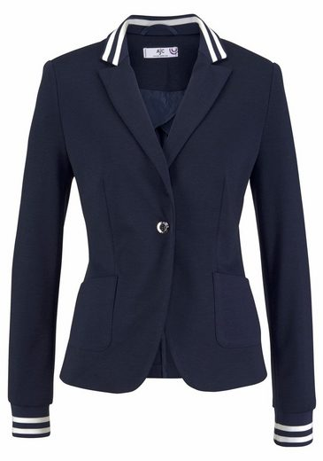 Ajc Short Blazer, With Striped Collar And Sleeveless Collar