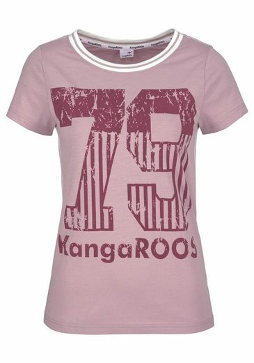 Kangaroos T-shirt With Large Print In Front And Ribbed Cutting-edge