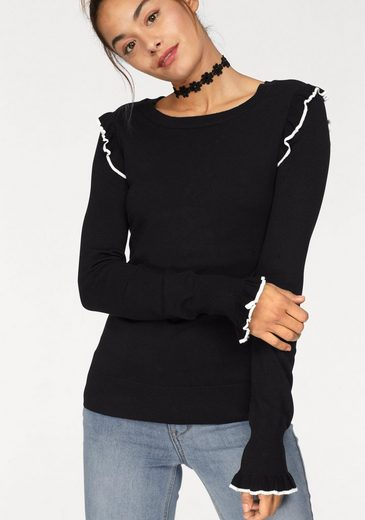 Ajc Crew-neck Sweater, With Contrast Stripes To The Ruffles