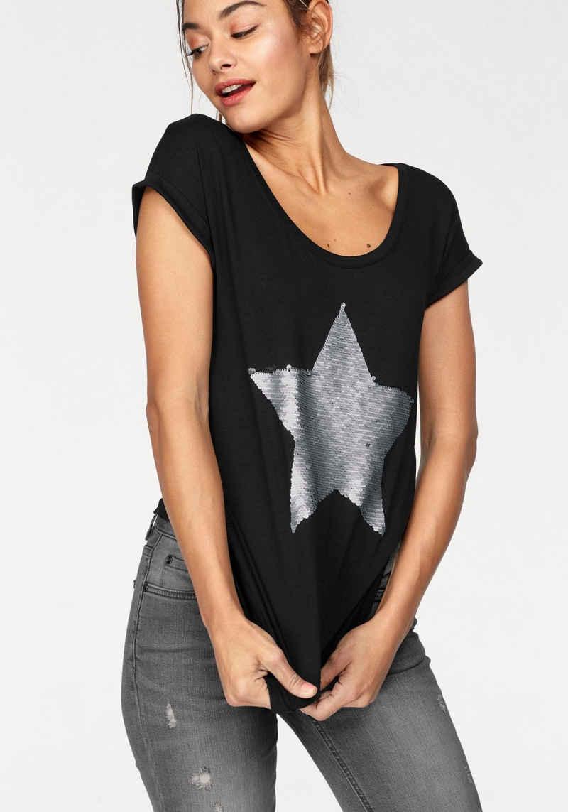 AJC T-Shirt mit Wende-Pailletten im Animal-Print