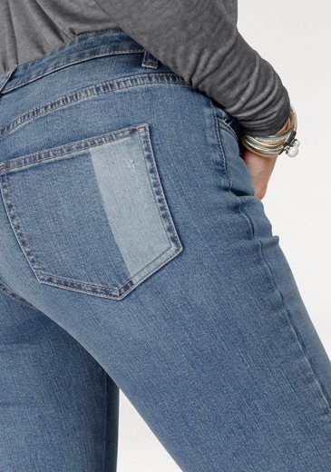 Ajc Slim-fit Jeans With Fringe At The Hem Edge