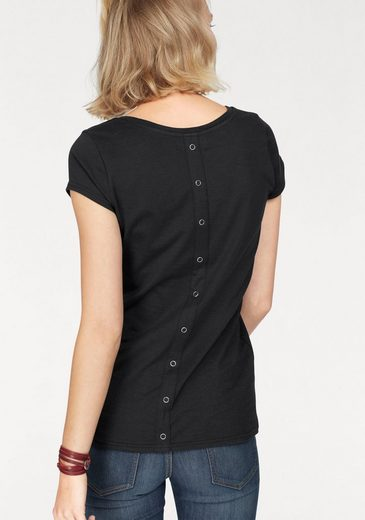 Ajc Crew-neck Shirt With Decorative Button Tape On The Back Part