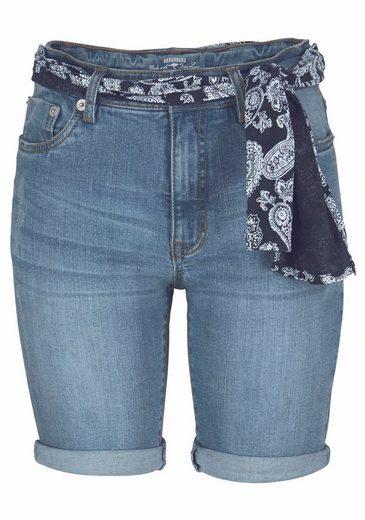 KangaROOS Jeansshorts, mit Bindegürtel aus Stoff in Bandana-Optik