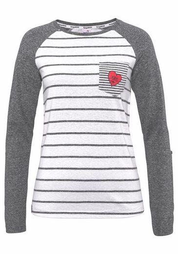 KangaROOS Longsleeve, im Streifen-Look mit Herz auf der Brusttasche
