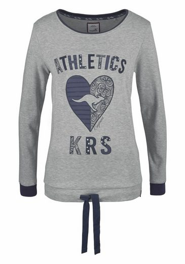KangaROOS Sweatshirt, mit Herz Applikation vorn und Bindeband im Saum