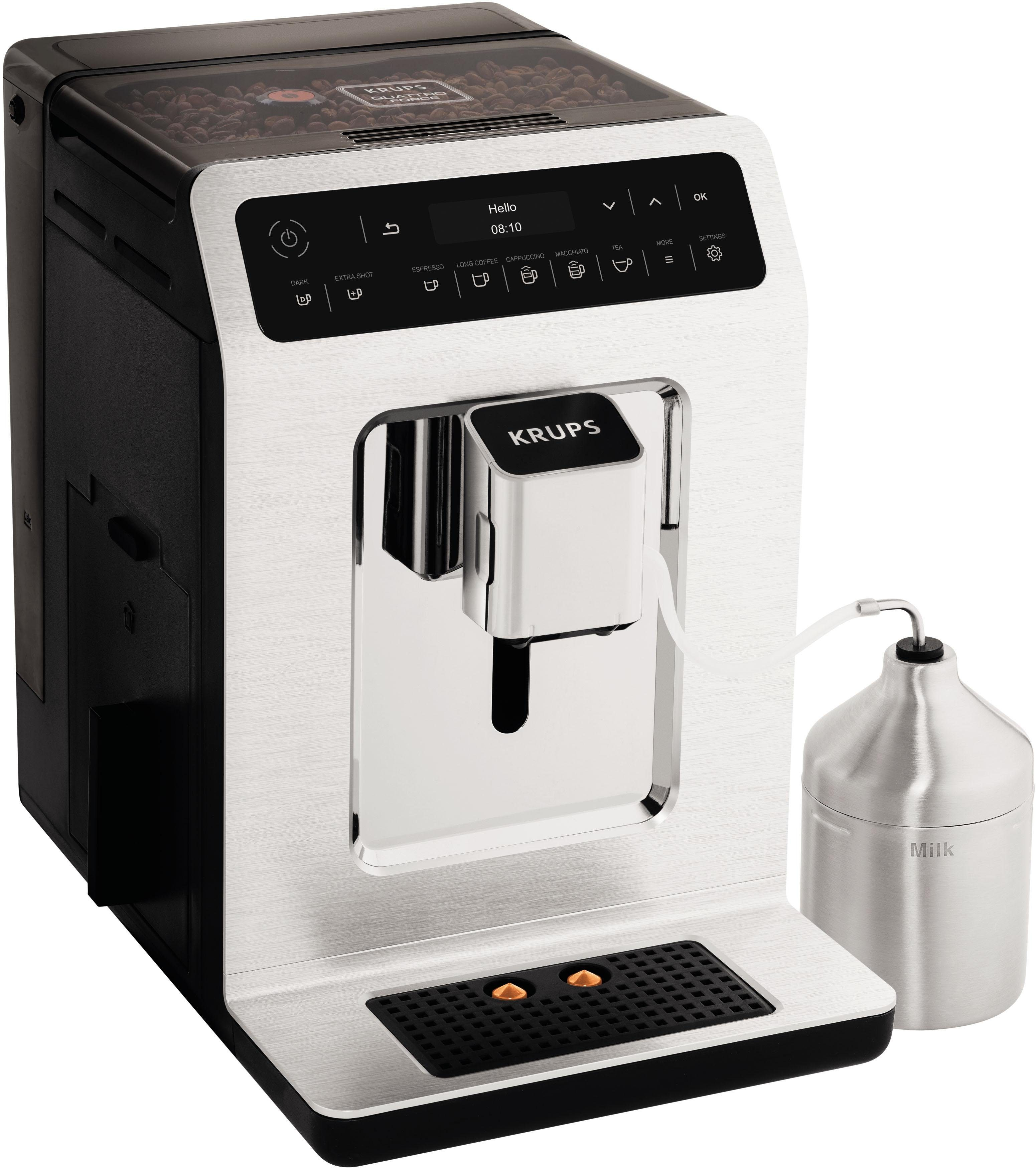 Krups Kaffeevollautomat EA891C Evidence Chrome Espresso-Vollautomat, 2,1l Tank, Kegelmahlwerk, mit 15 Voreinstellungen
