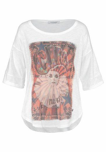 Please Jeans Rundhalsshirt, mit großem Zirkus-Print
