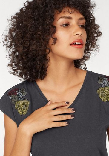 LTB V-Shirt MOFONI, mit Blumen-Stickerei