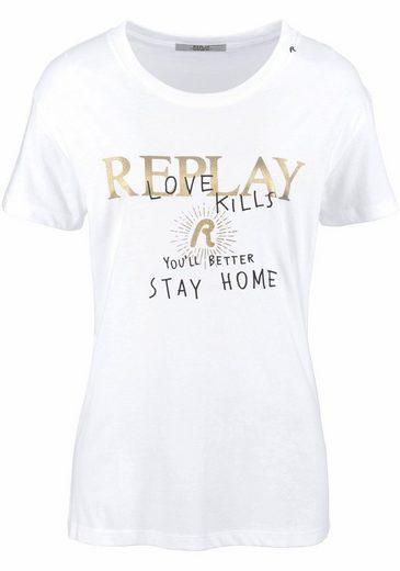 Replay T-Shirt, mit goldenem Glitzerprint
