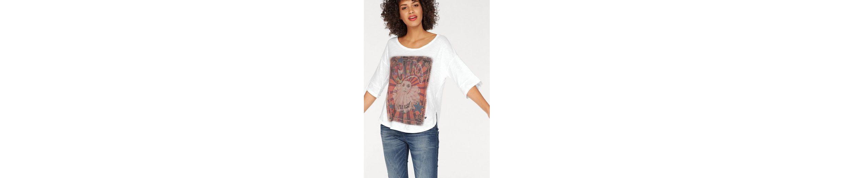 Please Jeans Rundhalsshirt, mit gro脽em Zirkus-Print
