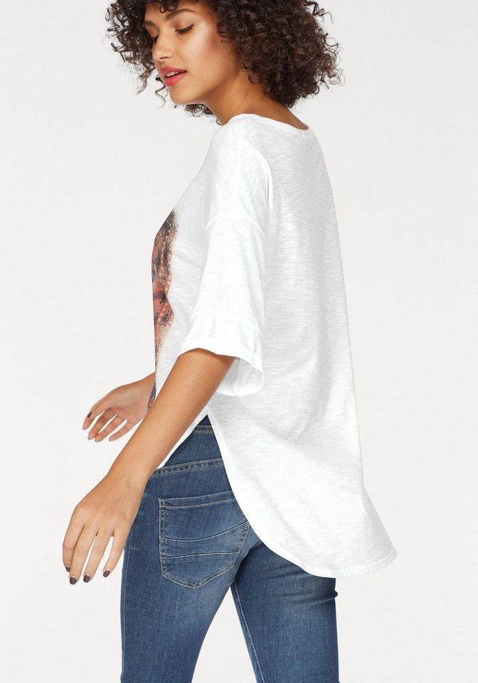 Damen Please Jeans Rundhalsshirt, mit großem Zirkus-Print schwarz, weiß | 04060243023125