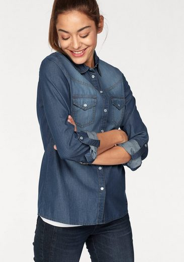 AJC Jeansbluse, mit cooler Used-Waschung