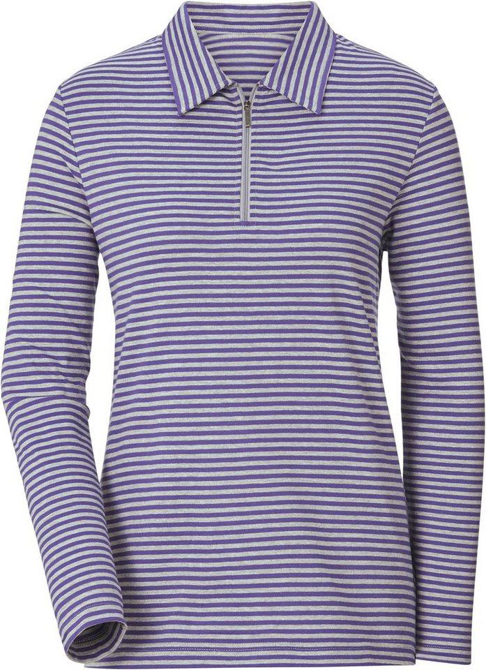 Damen Collection L. Shirt im garngefärbten Melange Ringel  | 08903340958296