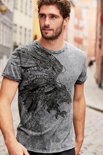 Next T-Shirt in Acid-Waschung mit Adler-Print