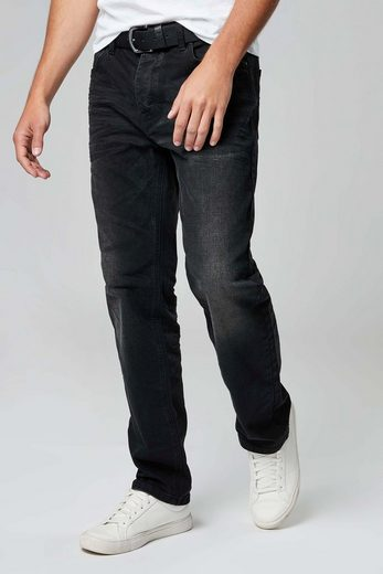 Next Jeans in Washed-Optik mit Gürtel 2 teilig