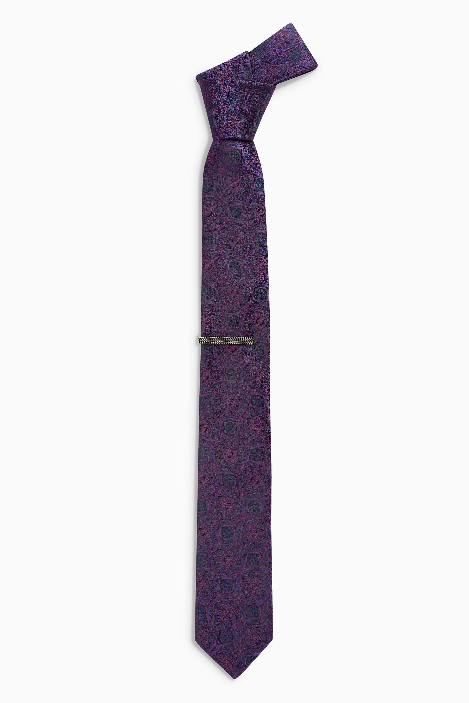 Next Krawatte mit Wappenmuster und Krawattenklammer 2 teilig