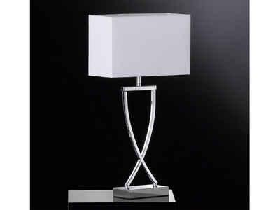 FISCHER & HONSEL LED Tischleuchte, große Nachttischlampe mit Lampenschirm Stoff, Design Stofflampe modern für Beleuchtung Wohnzimmer Wintergarten, Flurbeleuchtung, Galerie & Loft Lampe