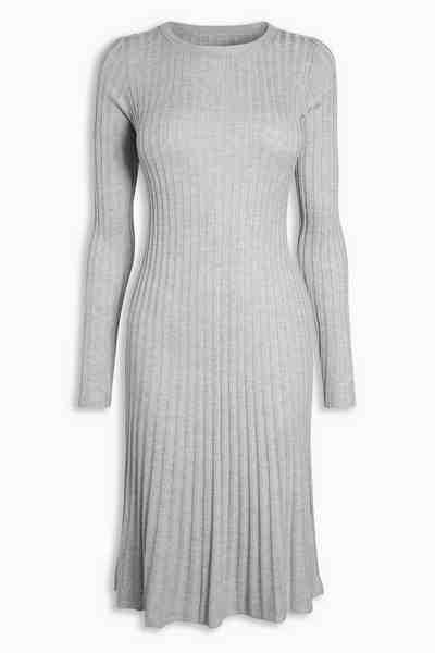 Next Geripptes Kleid in Tulpenform