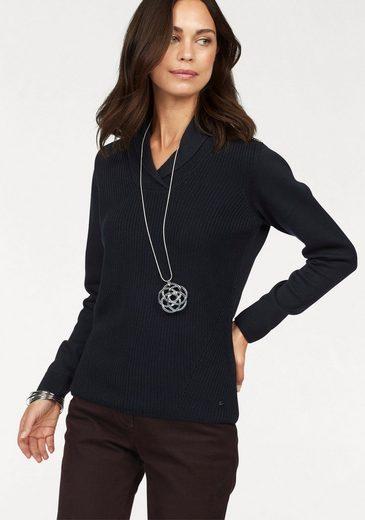 Olsen V-Ausschnitt-Pullover, mit Schalkragen