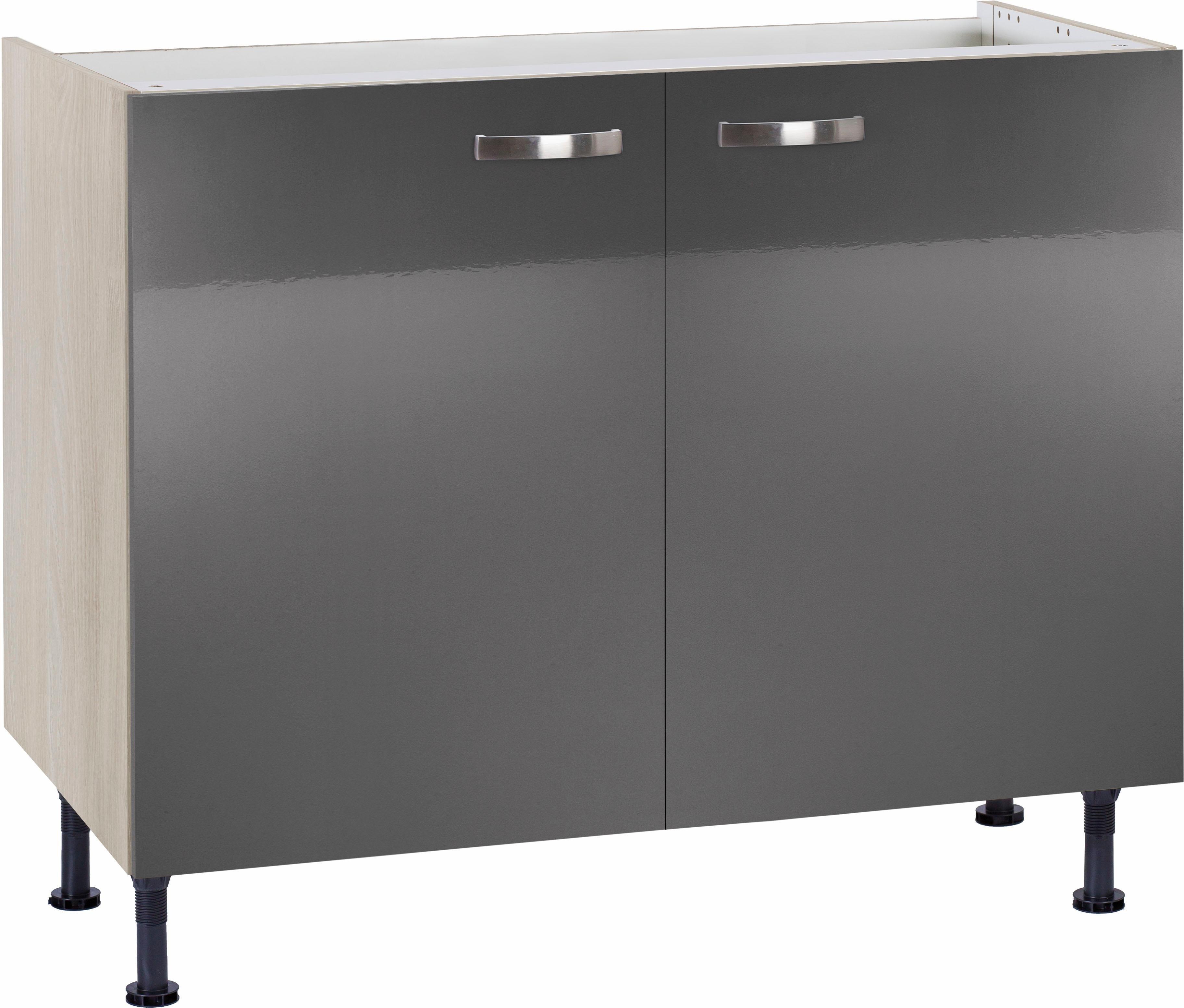 OPTIFIT »Cara« Spülenschrank, Breite 100 cm | Küche und Esszimmer > Küchenschränke > Spülenschränke | Anthrazit - Weiß - Glanz | Beton - Glänzend - Mdf - Melamin | OPTIFIT
