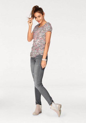 AJC T-Shirt mit Blumen und Frontpirnt