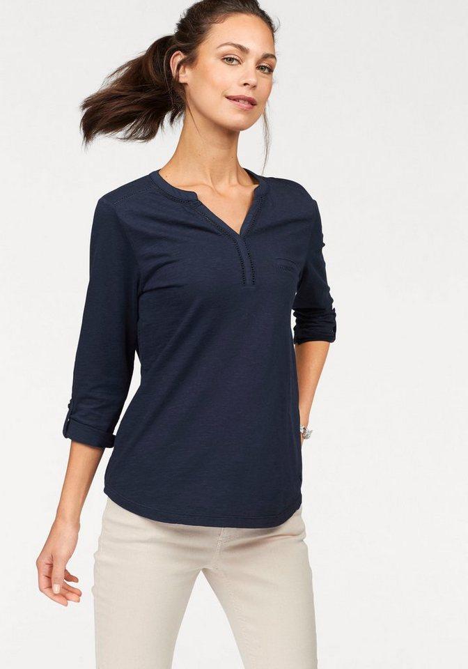 Olsen V-Shirt Krempelärmel mit Riegel, Lochspitze, Henleyshirt   Bekleidung > Shirts > V-Shirts   Blau   Olsen