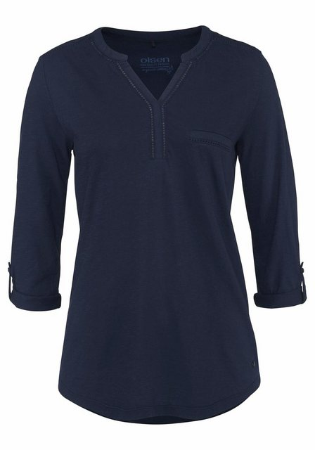 Olsen V-Shirt Krempelärmel mit Riegel, Lochspitze, Henleyshirt | Bekleidung > Shirts > V-Shirts | Olsen