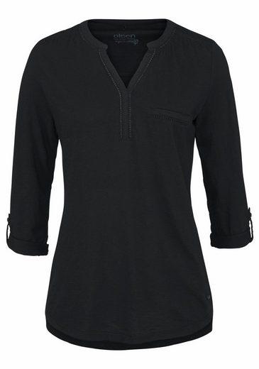 Olsen V-Shirt, Krempelärmel mit Riegel, Lochspitze, Henleyshirt
