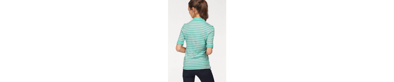 Olsen Poloshirt, gestreift, Ärmel mit Aufschlag