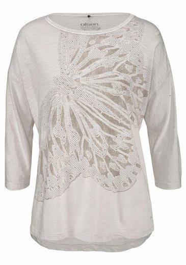 Olsen Rundhalsshirt, mit großem Schmetterlingsdruck und funkelnden Nieten