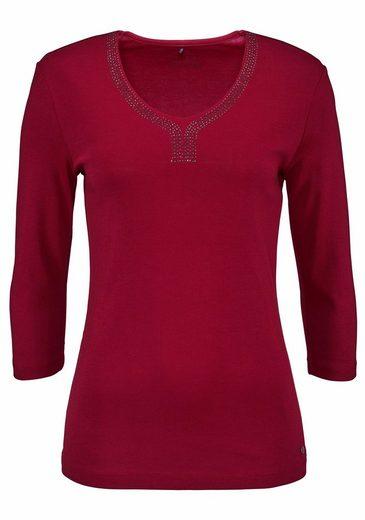 Olsen V-Shirt, Glitzernieten am Ausschnitt