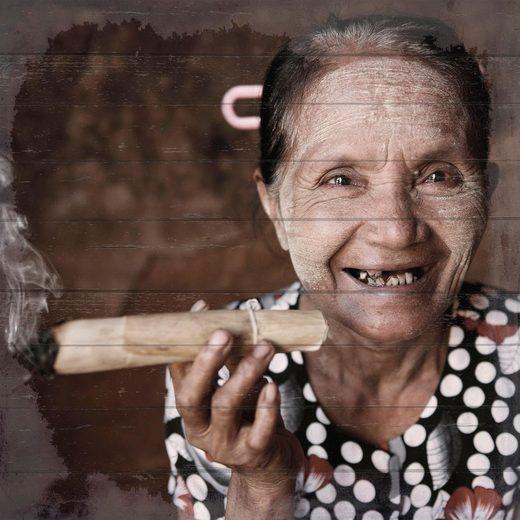 Home affaire Holzbild »Lachende Havanna Lady«, 40/40 cm